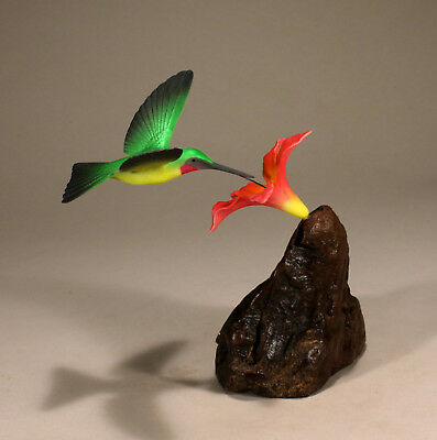 HUMMINGBIRD Sculpture with Red Flower New Direct from JOHN PERRY 7in tall