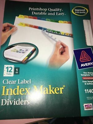 NEW AVERY CLEAR Easy Apply label index Maker Divider 11404 12 Tabs 1 Set
