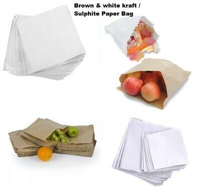 Brown & White Kraft / Sulphite Strung Paper Bags Food Sandwich Grocery Bag