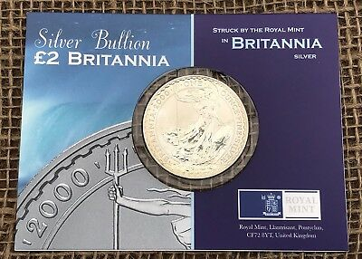 Silver Bullion £2 Britannia Royal Mint Silver Proof 958.4 Coin Mint In Packaging