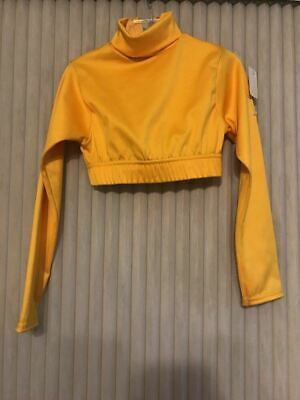 Alleson cheerleading Crop top Yellow size S girls long sleeve Ships N 24h