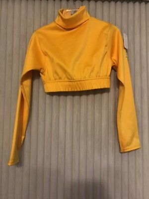Alleson cheerleading Crop top Yellow size XS girls long sleeve Ships N 24h