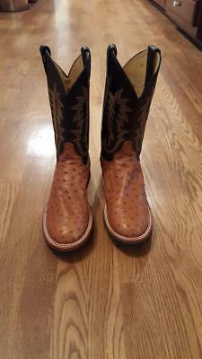 fff0bbf74e8 MENS JUSTIN TEKNO Crepe Full Quill Ostrich Double Stitched Cowboy Boots 5014
