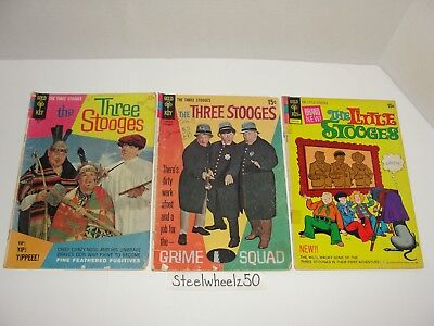 Three Stooges #35 40 & Little Stooges #1 Comic Lot Gold Key 1967 Moe Larry Curly