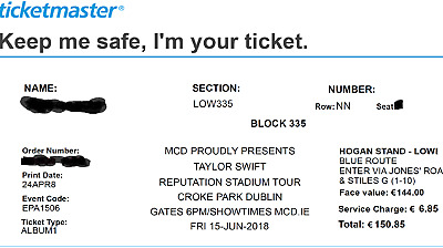 Taylor Swift Tickets Croke Park Dublin. 15th June 2018. Premium seated tickets