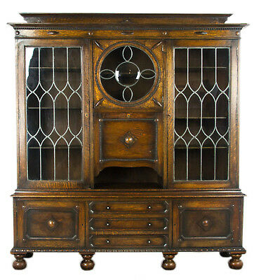 Antique Secretary Desk, Antique Oak Bookcase, Scotland, Antique Furniture, B992