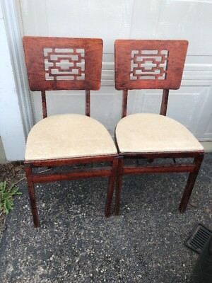 2 Vintage Stakmore WOOD FOLDING CHAIRS Cherry White Asian Mid Century