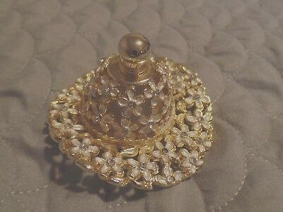 Hat Shaped Perfume Bottle Glass Gold Tone Rhinestones Flowers