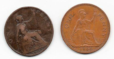 1902 Edward & 1966 Elizabeth penny from United Kingdom