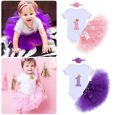 Baby Girl 1st First Birthday Dress One Year Clothes 3PCS Set Tutu Cake Outfits