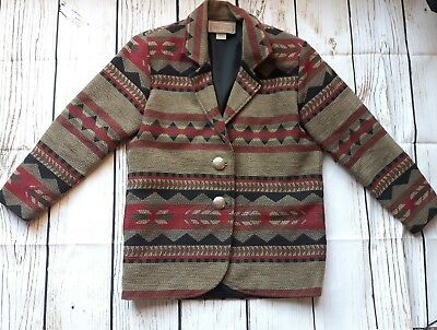 Painted Pony Jacket Blazer Ladies Small Tapestry Aztek Brown