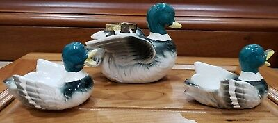 Vintage Working Ceramic Hand Painted Japan Duck Table Lighter & 2 Ashtrays Set