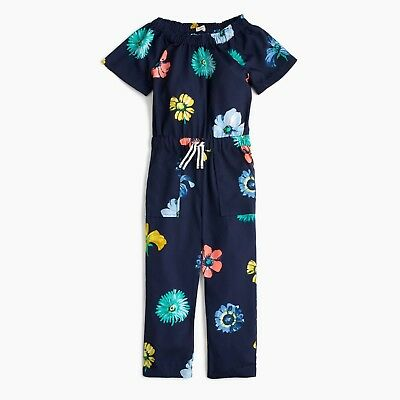 b67b5ea747a7f NWT J.Crew Crewcuts Girls Floral Navy Jumpsuit Romper Spring Outfit - $68  Retail
