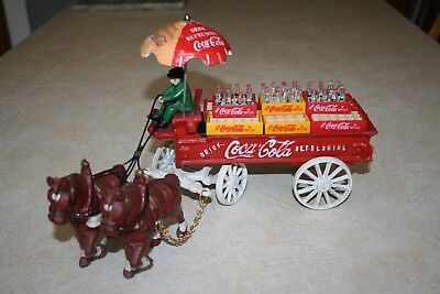 Coca Cola Cast Iron Horse Drawn Delivery Wagon Vintage With Mini Cases & Bottles