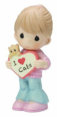 NEW Precious Moments I LOVE CATS Porcelain Bisque Figurine kitten 154046 gift