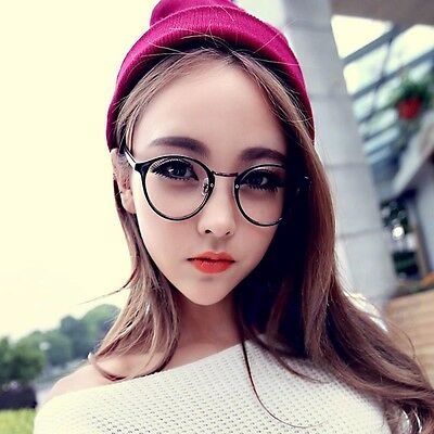Vintage Clear Lens Eyeglasses Frame Retro Round Men Women Unisex Glasses Slight