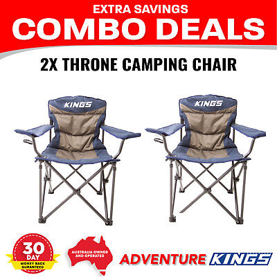 2x Throne Camping Chair Adventure Kings Outdoor Picnic Camp Seat Portable