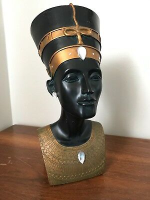 "Egyptian Queen Nefertiti Head and Bust Resin Statue 14.5"" Tall Vintage 1991"