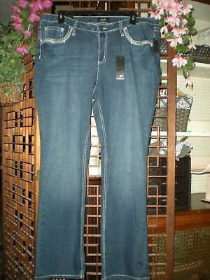 Women's Earl Medium Wash Slim Boot Jeans Embroidery Bling Pockets Size 20W