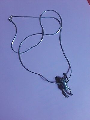Silver Frog Necklace -- 925 Silver Frog on a 24 inch Silver Chain
