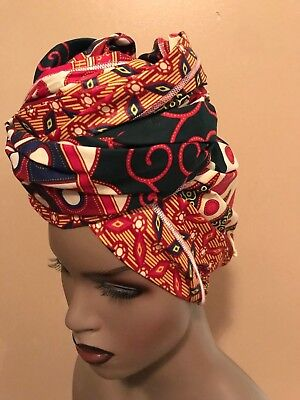"African print Wax head Tie, Head Wrap, Scarf, Turban 70'X23""  multicolor"