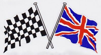 Cross flags badge new superb quality  Union Jack chequered flag Bd4-c4