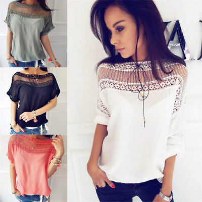 Women Cotton Summer Blouses Short Sleeve Shirts Lace Tops Batwing Shirts