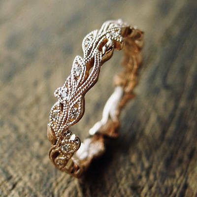 Vintage 18K Rose Gold White Sapphire Flower Buds & Leafs Ring Women Jewelry Gift