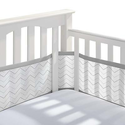 BreathableBaby Mesh Printed Crib Liner Bumper Gray Pediatrician Recommended