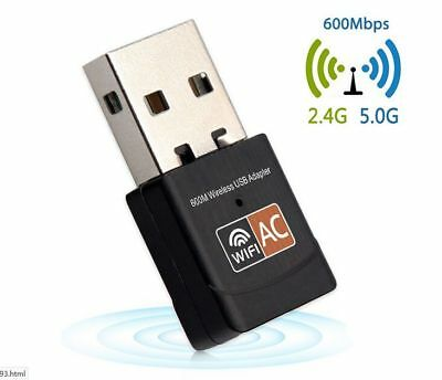 AC 600Mbps WLAN Stick dual band 2.4GHz/5GHz WIFI Dongle USBWireless Adapter 100m