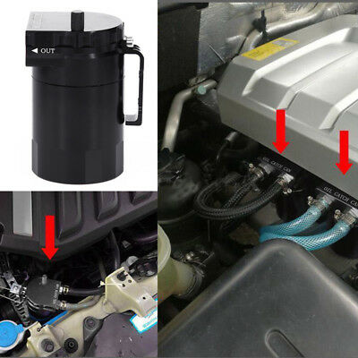 Universal Aluminum Oil Catch Can Tank Reservoir Breather With Fittings Solid Pro