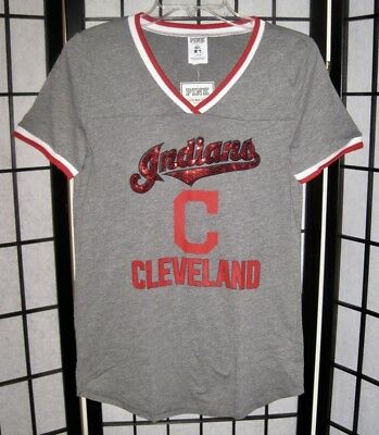 separation shoes 2b284 7b707 NWT VICTORIA'S SECRET Pink Mlb Cleveland Indians Bling Sequin Perfect Tee  Shirt