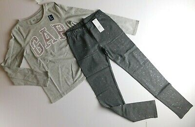 NWT GAP Kids Girl's 2 Pc Outfit T-Shirt Grey Sequins/Leggings Medium MSRP$38 New