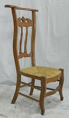 French Chapel Chair Prie Dieu 19th Century Rush Seat Country Chauffeuse Folk Art