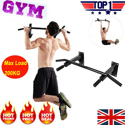 5.5KG Wall Mounted Pull Up Bar Exercise Fitness Gym Bracket Workouts Max. 200kg