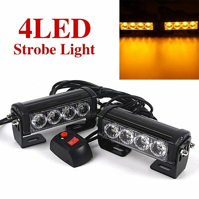 2x12V LED Bar Car Truck Flashing Emergency Grille Light Recovery Strobe Yellow