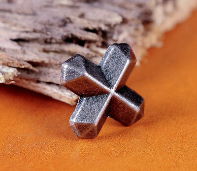 30pc 15*12MM DIY SOLID SILVER CROSS BUTTON CONCHO STUD RIVET LEATHER CRAFT BIKER