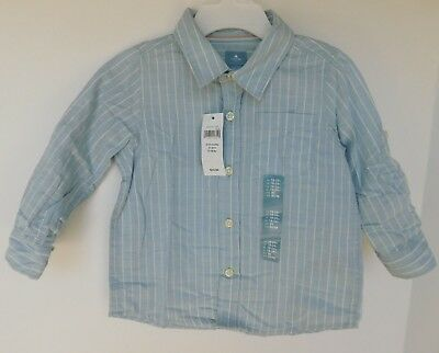 NWT Gap Baby Boy Button Down Long Sleeve Shirt 6-12M MSRP$25 Free Shipping NEW