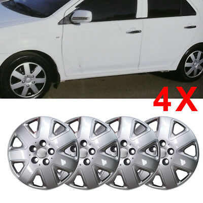 """SET OF 4 x 14 INCH (14"""") ALLOY LOOK WHEEL TRIMS COVER HUB CAPS TYRE CAP SILVER"""