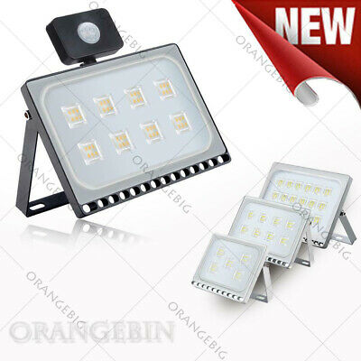 LED Floodlights 10/20/30/50/100W/150/200/300/500W PIR Sensor Outdoor Light Cool
