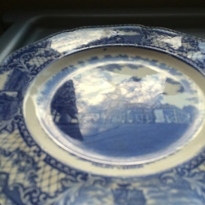 Blue and White Mount Vernon Plate by Crown Ducal