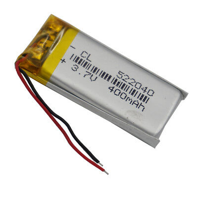 3.7V 400mAh Polymer rechargeable Lipo battery For GPS Recorder headset 522040