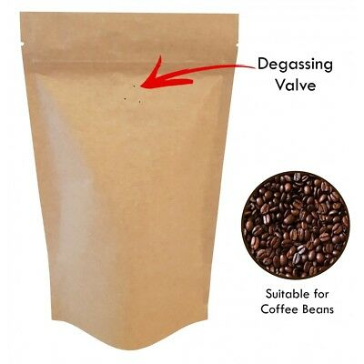 Kraft Paper With Valve  Bag Stand Up Pouches Coffee Bag Seeds Nuts Heat Seal Bag