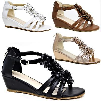 Womens Ladies Wedge Summer Beach Fashion Strappy Comfort Sandles Shoes Sizes
