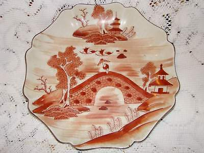 Antique Japanese Kutani Plate Red and White 1890-1930