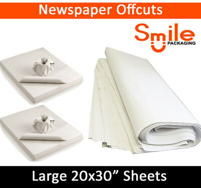"White Packing Paper Chip Shop Paper Newspaper Offcuts Large 20 x 30"" Sheets Food"