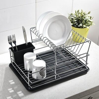 Home Basics 2 Tier Dish Rack Simple HOME 60 TIER Dish Rack Basics Drainer Chrome Drying For Kitchen