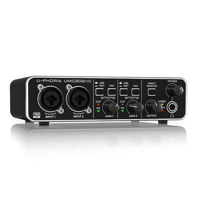 Behringer U-PHORIA UMC202HD Audiophile 2x2 USB Audio Interface w/ MIDAS Preamps