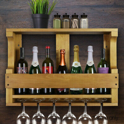 7 Bottle Wall Mount Wine Rack Timber Wooden Storage Organiser Display Bar Shelf