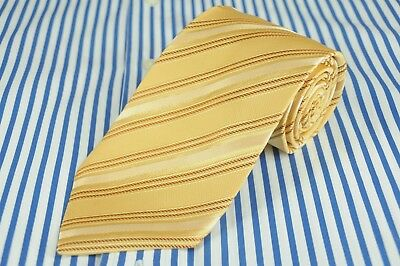 Hugo Boss Men's Tie Gold Striped Woven Silk Necktie 59 x 3.25 in.